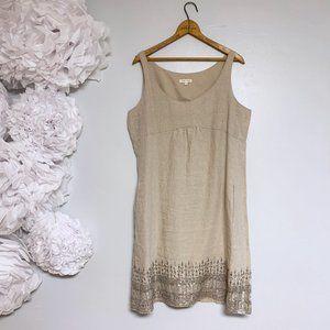Eileen Fisher Beige Organic Linen Sequin Dress 14